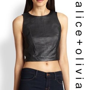 ALICE + OLIVIA • Lorita Cropped Leather Tank • 6